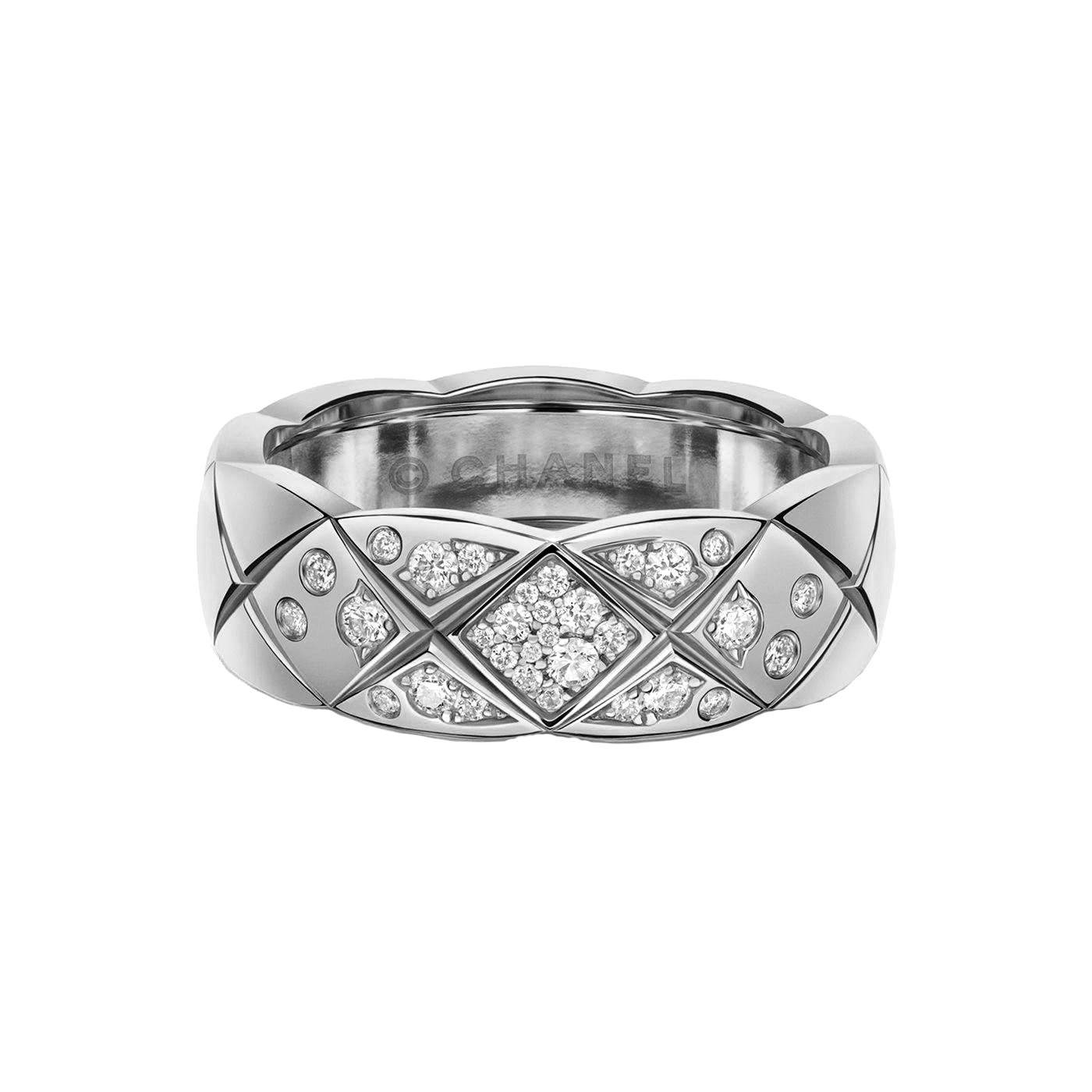 "18k White Gold & Diamond Small ""Coco Crush"" Band"