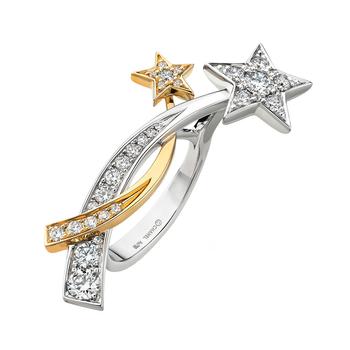 "Diamond ""Comète"" Double Shooting Star Ring"