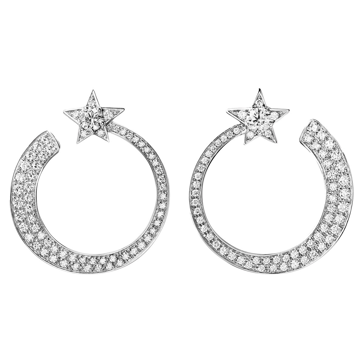 "Diamond ""Comète"" Star Hoop Earrings"