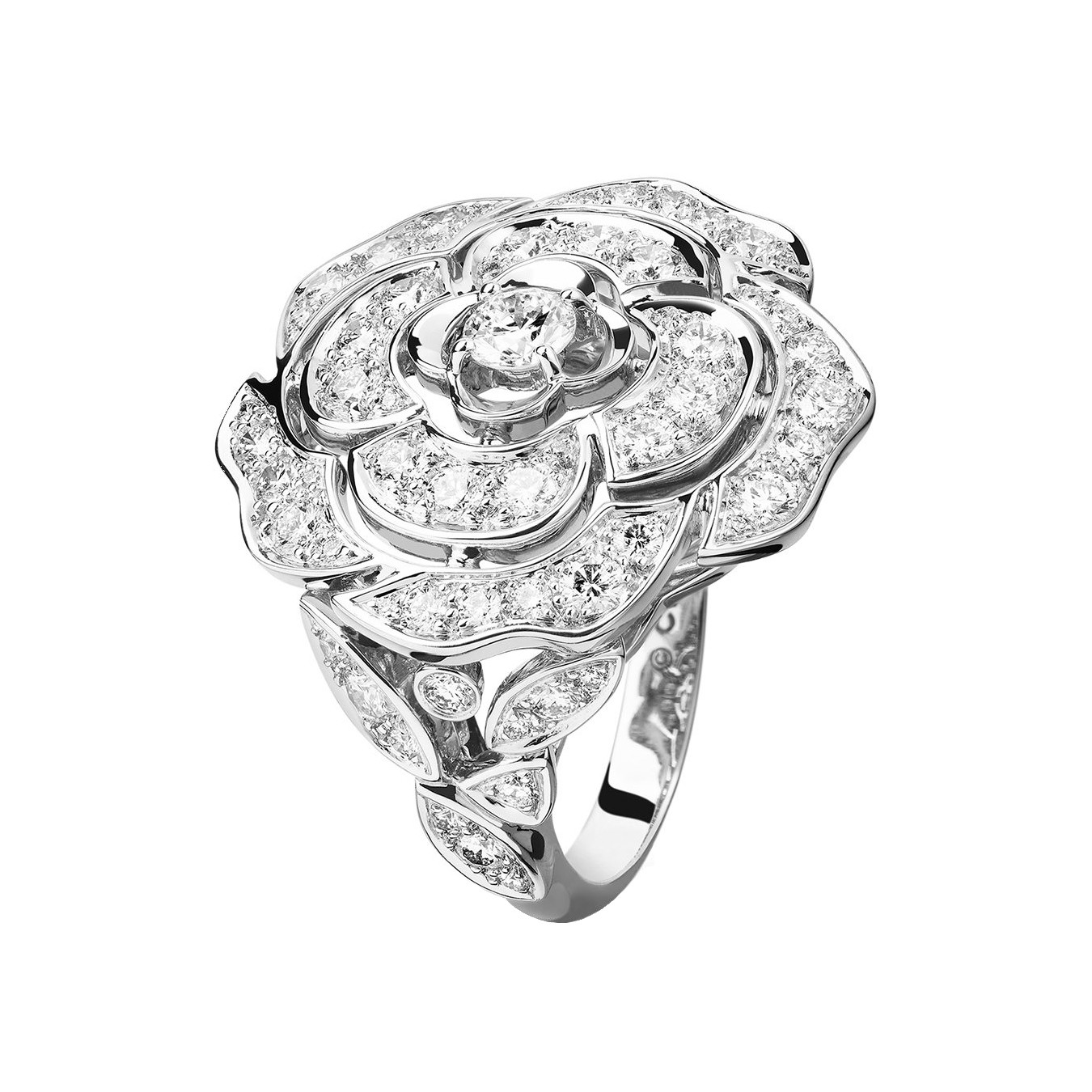 Large Diamond Bouton de Camélia Ring