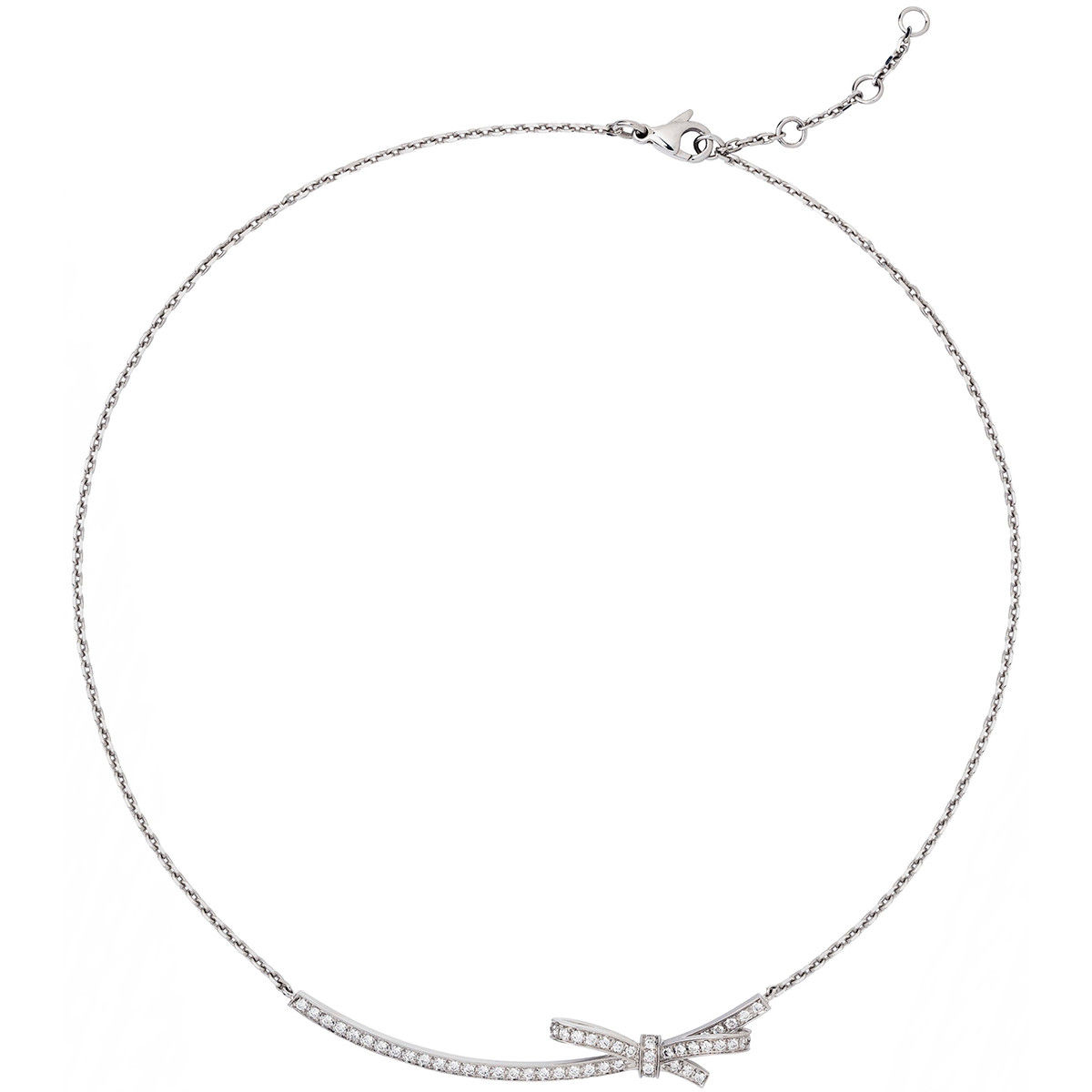 Diamond Ruban Ribbon Pendant Necklace