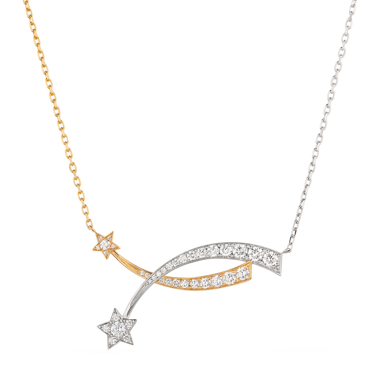 "Diamond ""Comète"" Double Shooting Star Pendant"