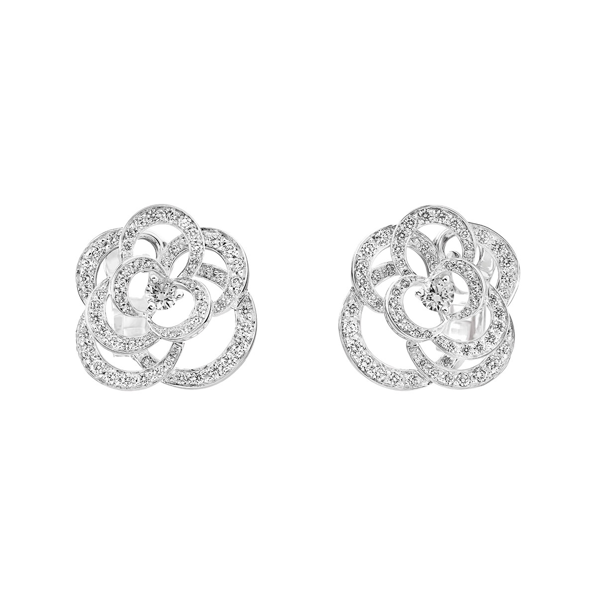 18k White Gold & Diamond Fil de Camélia Earrings