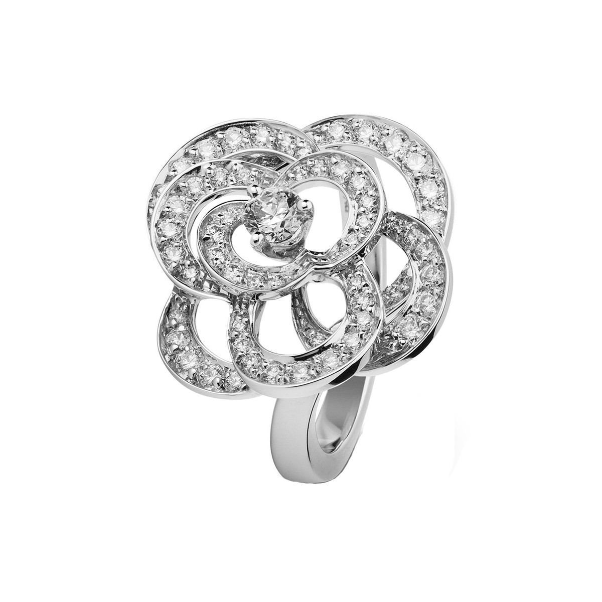 Medium Diamond Fil de Camélia Ring