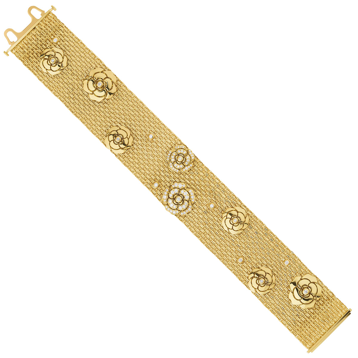 18k Yellow Gold & Diamond Camélia Bracelet