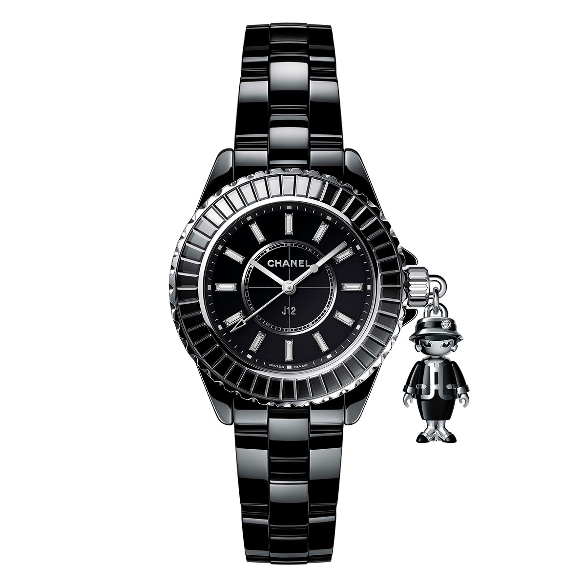Mademoiselle J12 Acte II 33mm Black Ceramic (H6479)