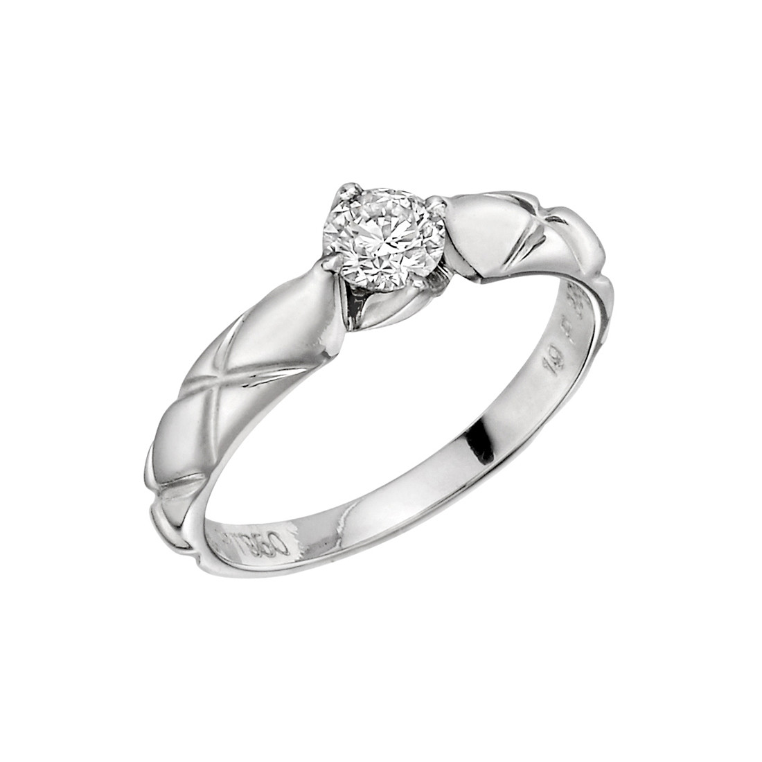 "Platinum & Diamond ""Matelasse"" Solitaire Ring"