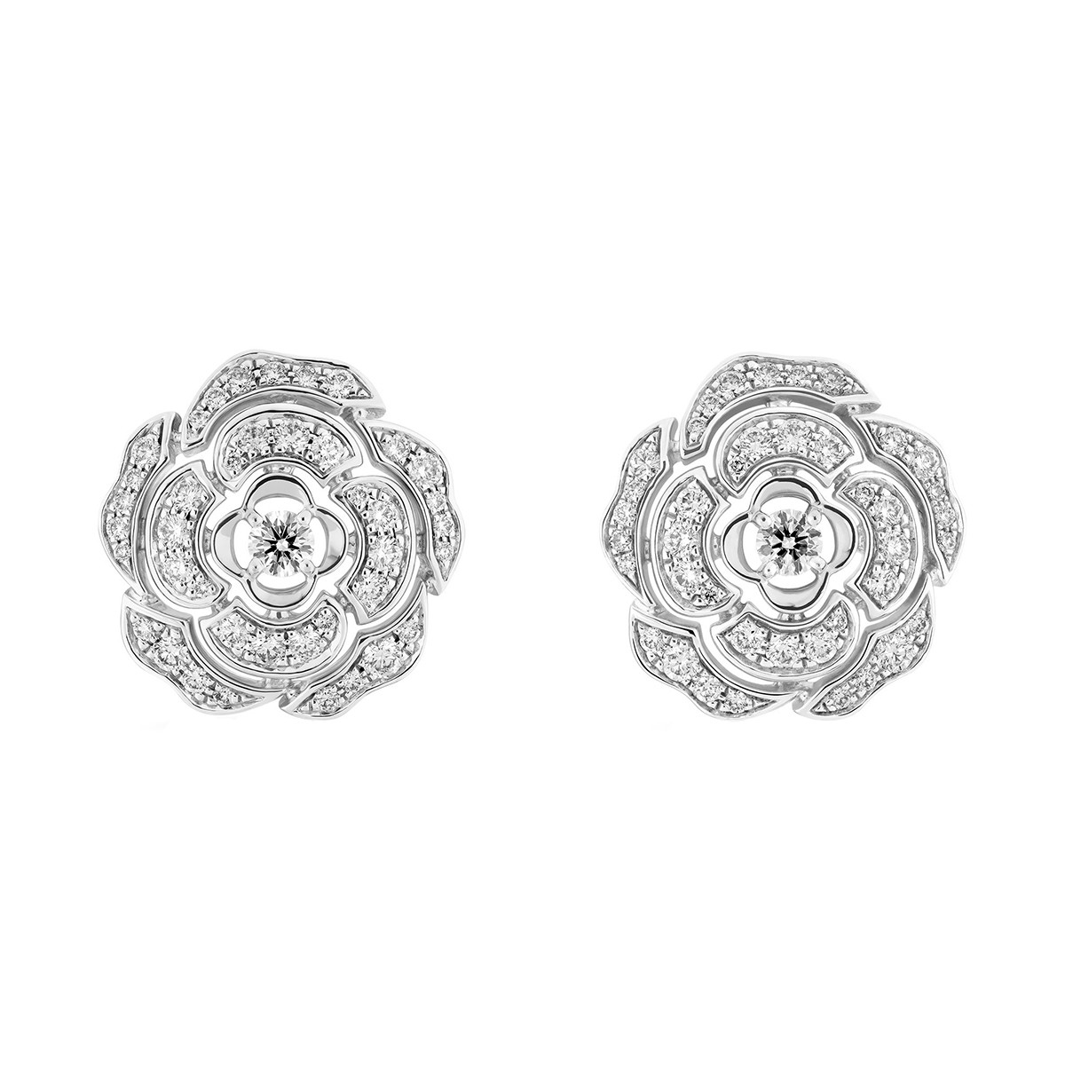 Small Diamond Bouton de Camélia Earrings