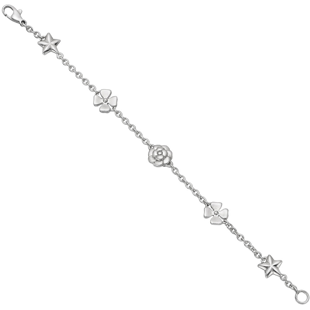 18k White Gold Flower, Clover & Star Chain Bracelet