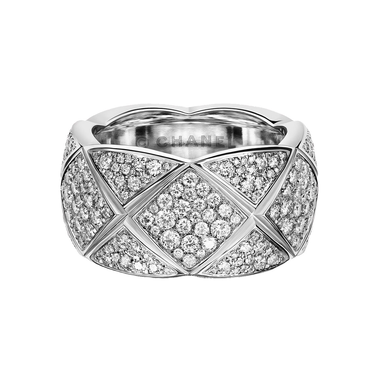 "18k White Gold & Diamond ""Coco Crush"" Wide Band Ring"