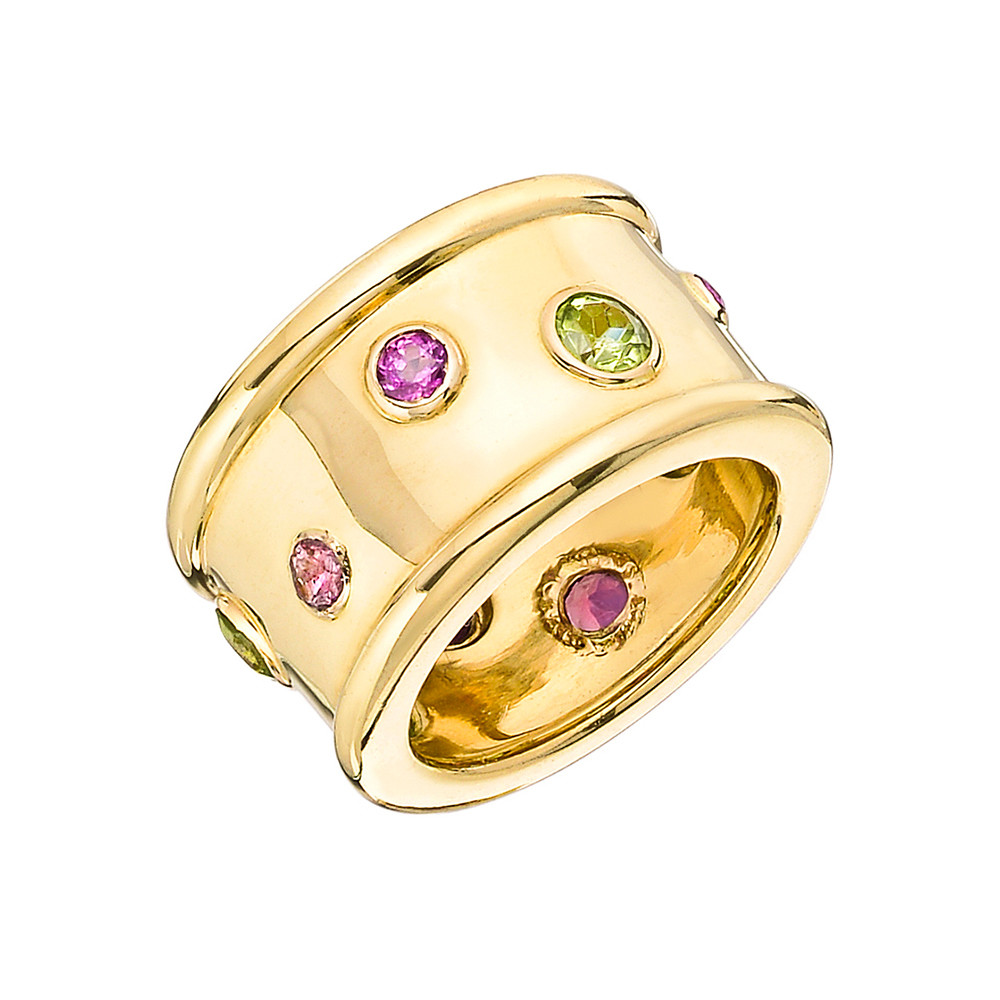 Peridot & Pink Tourmaline Wide Band Ring