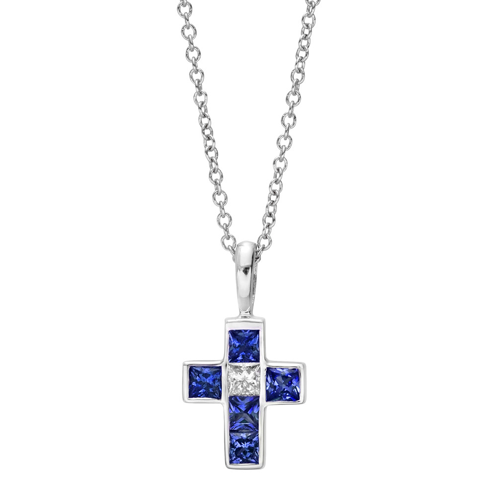 Small 18k White Gold, Sapphire & Diamond Cross Pendant