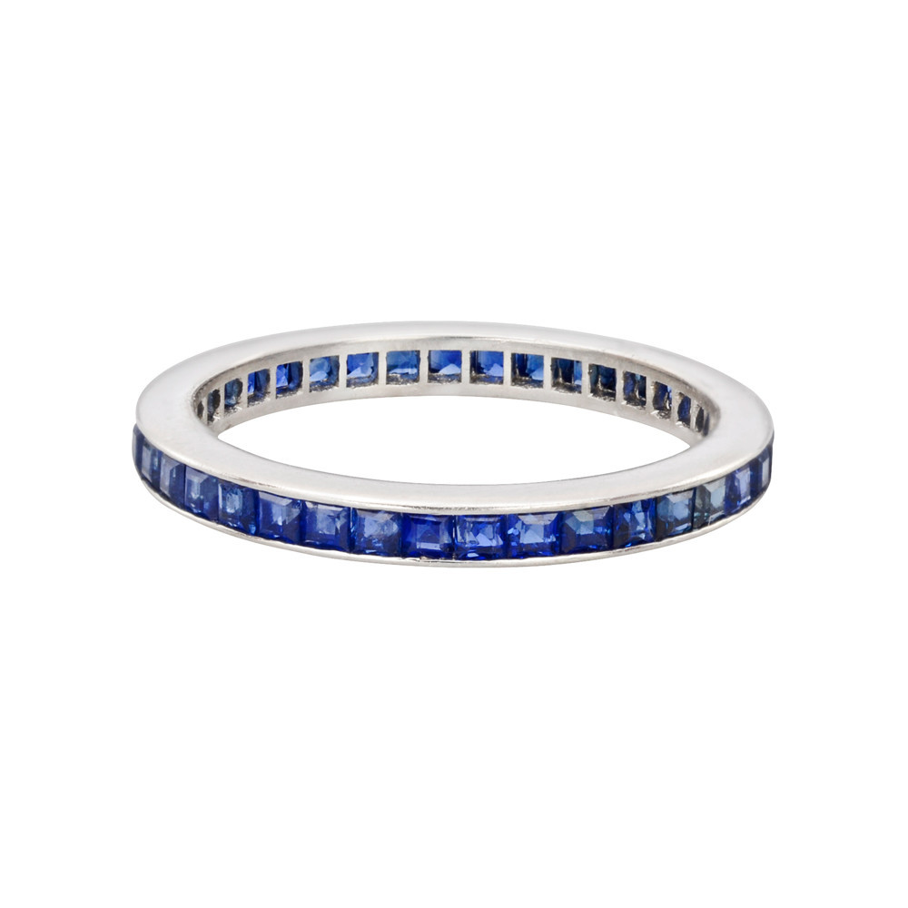 Channel-Set Square-Cut Sapphire Eternity Band