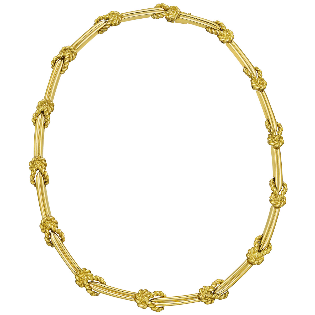 18k Yellow Gold Rope Knot & Bar Link Necklace