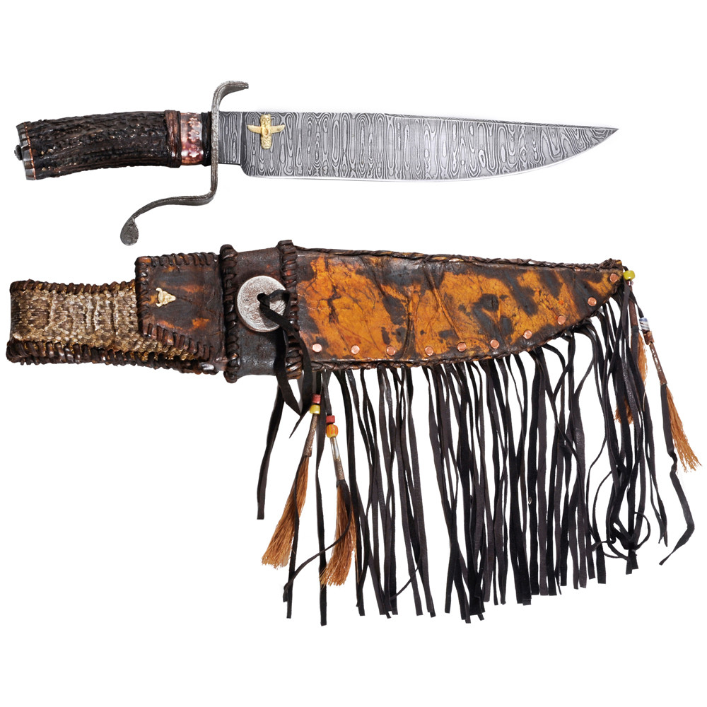 Large Elk Stag Camp Bowie Knife With Sheath Betteridge