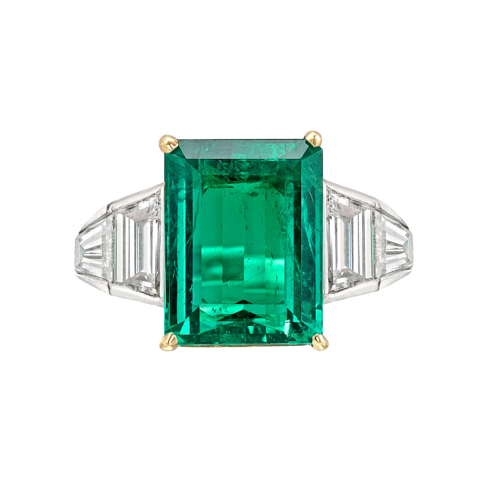 Estate 4 82 Carat Colombian Emerald Cut Emerald Amp Diamond