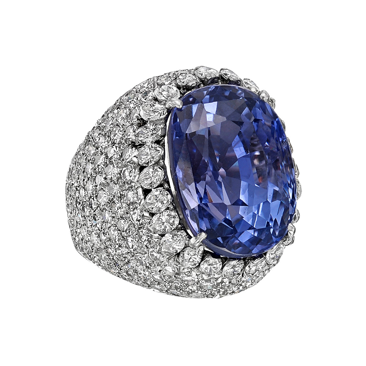 20.26ct No-Heat Ceylon Sapphire & Diamond Ring