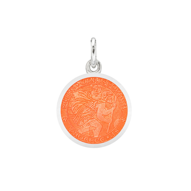 XS Silver St. Christopher Medal with Coral Enamel
