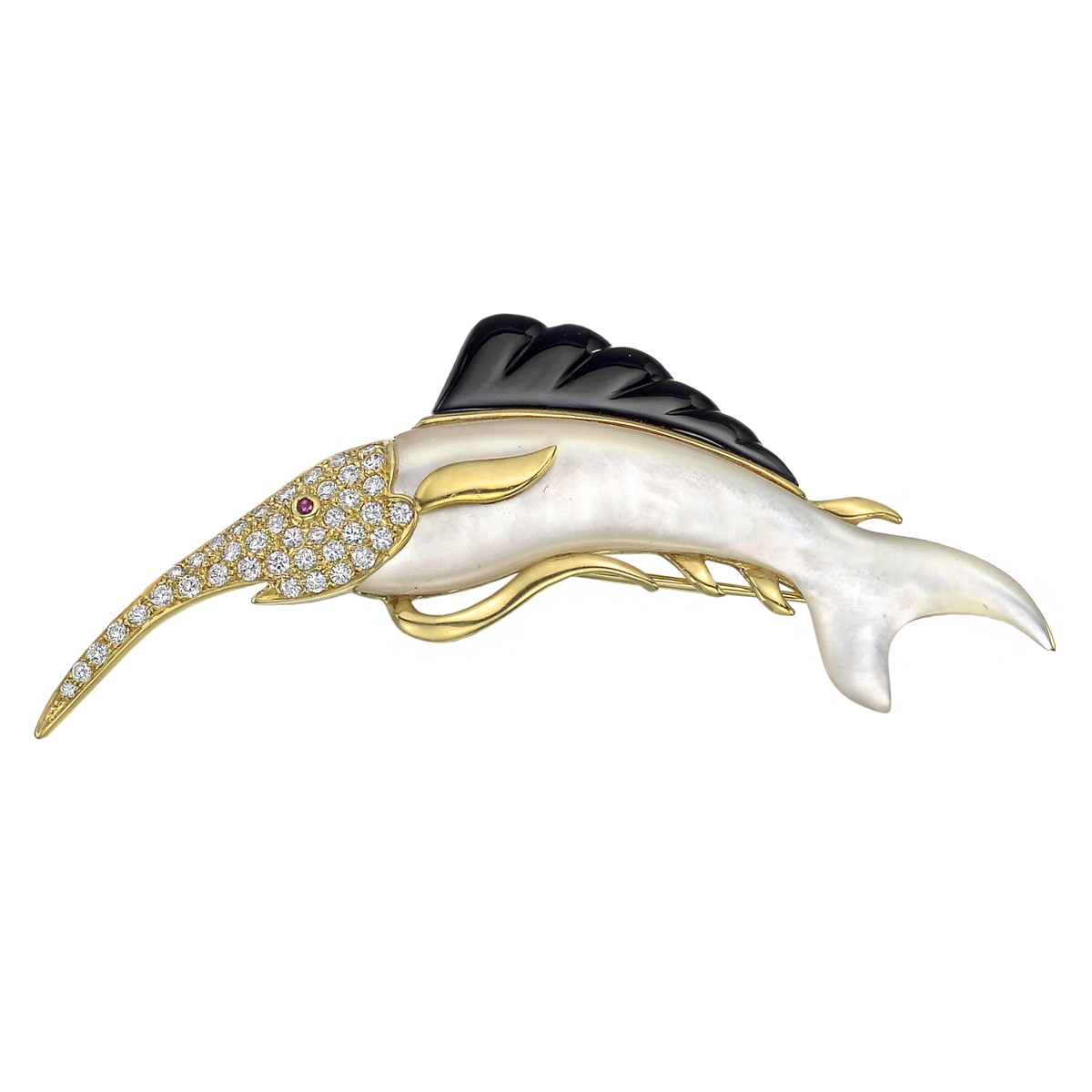 Mother-of-Pearl, Onyx & Diamond Swordfish Pin