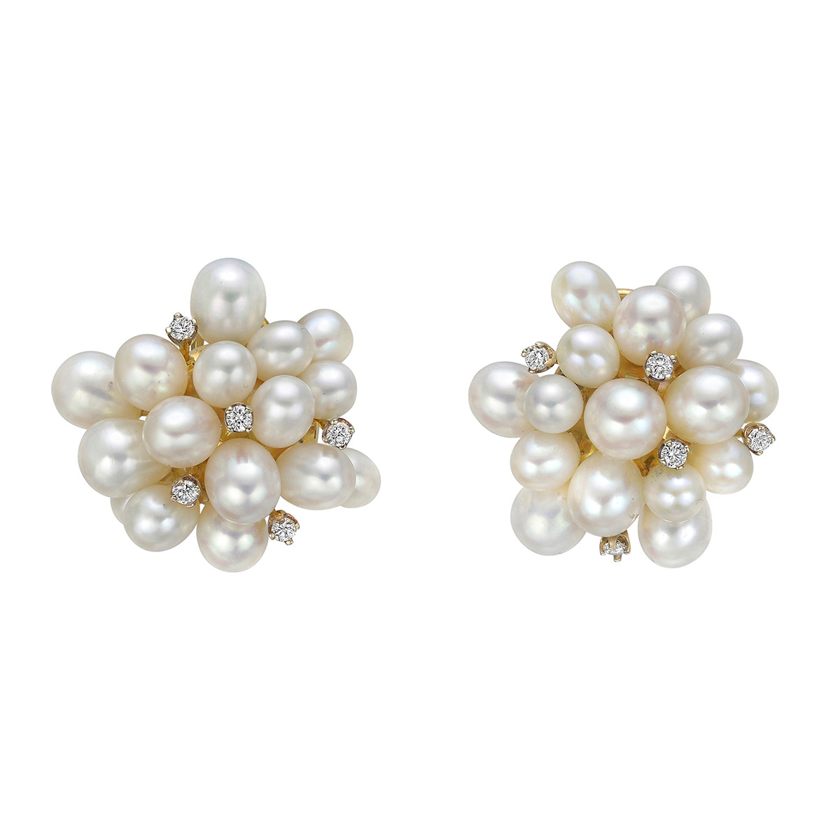 Pearl & Diamond 'Pom Pom' Earrings