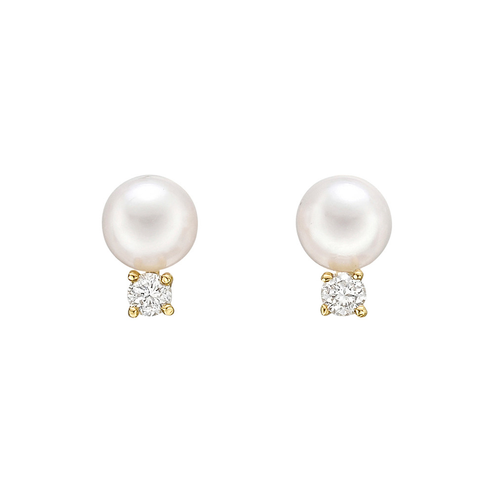 Cultured Pearl & Diamond Stud Earrings (5mm)