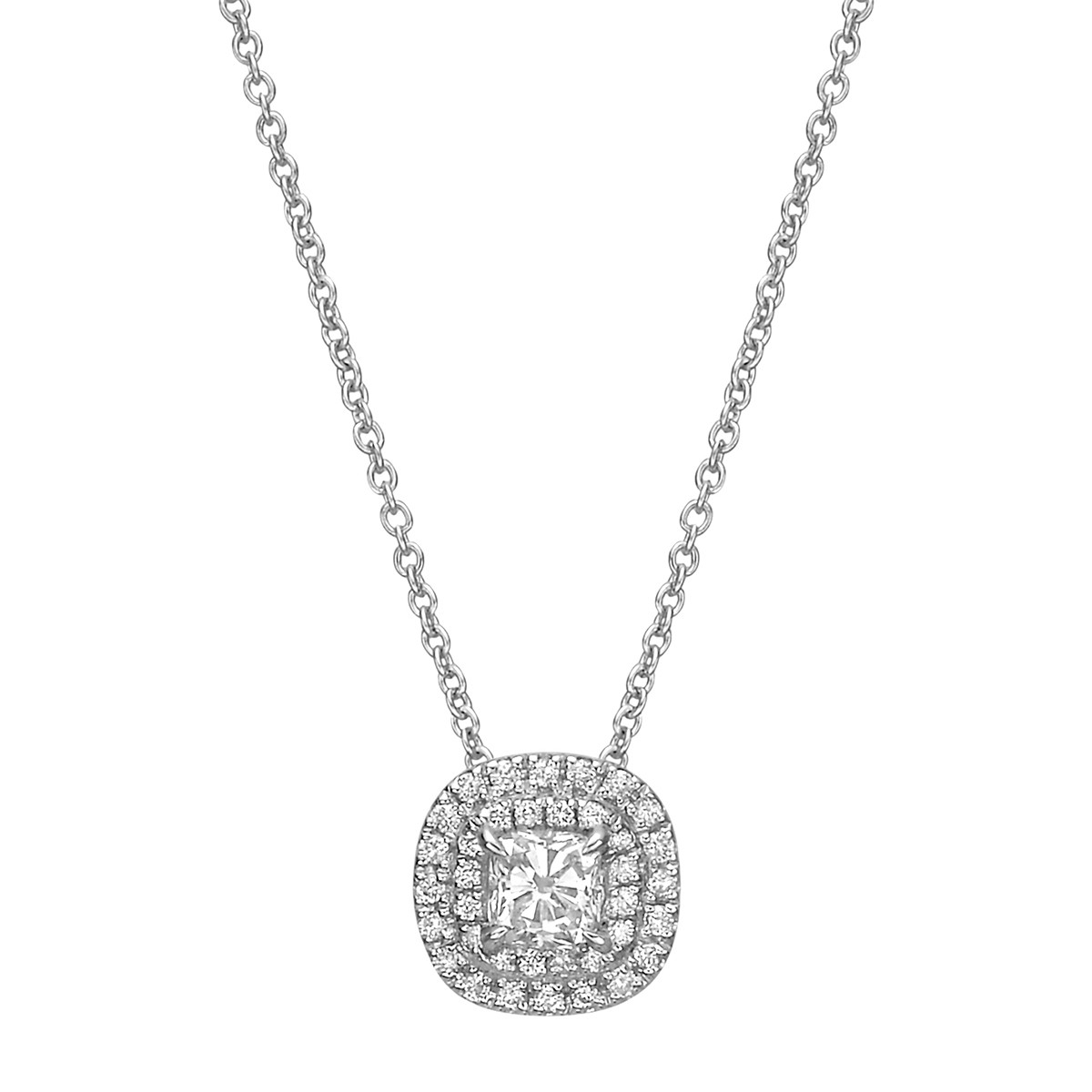 Cushion Brilliant-Cut Diamond Double Halo Pendant