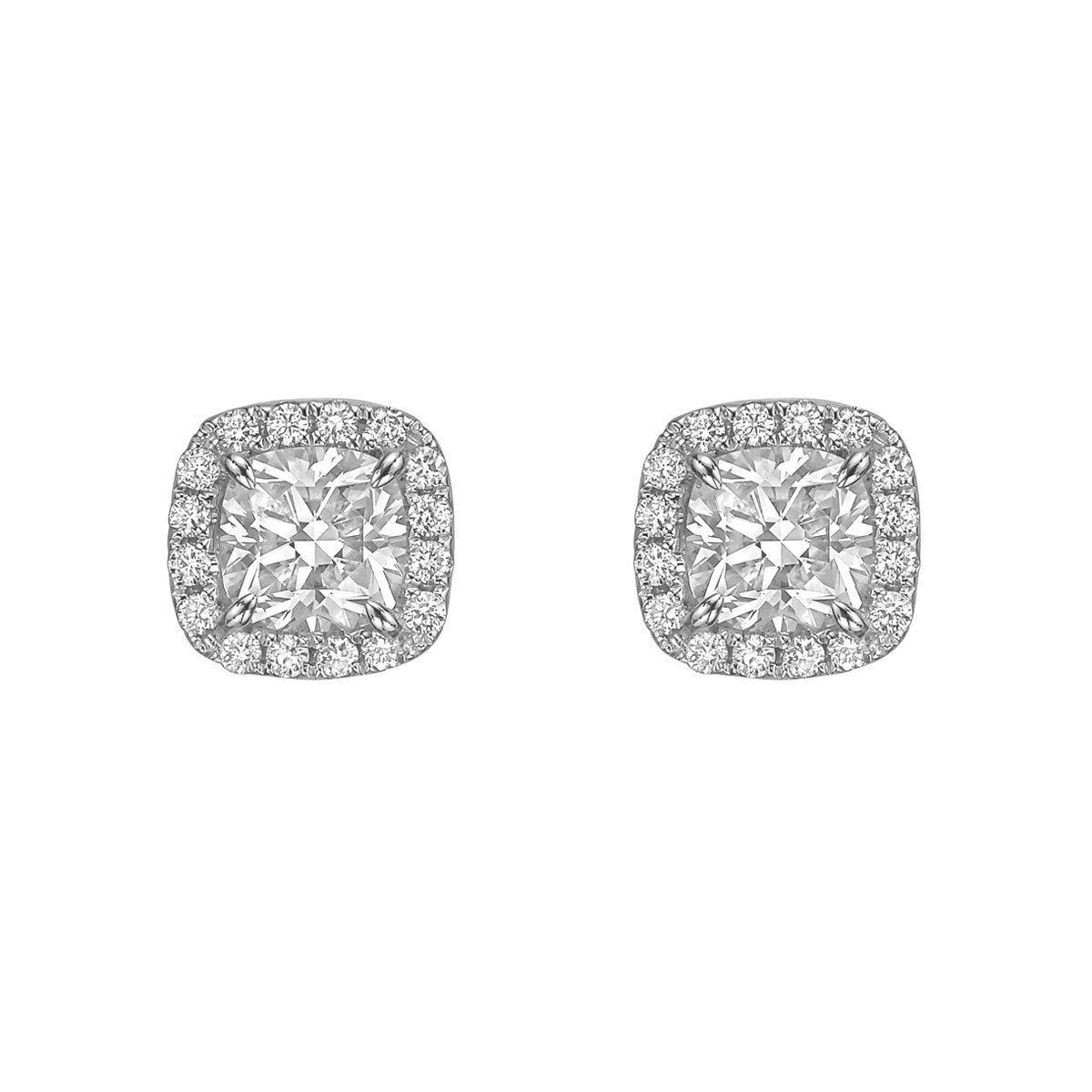 Cushion Brilliant-Cut Diamond Halo Stud Earrings