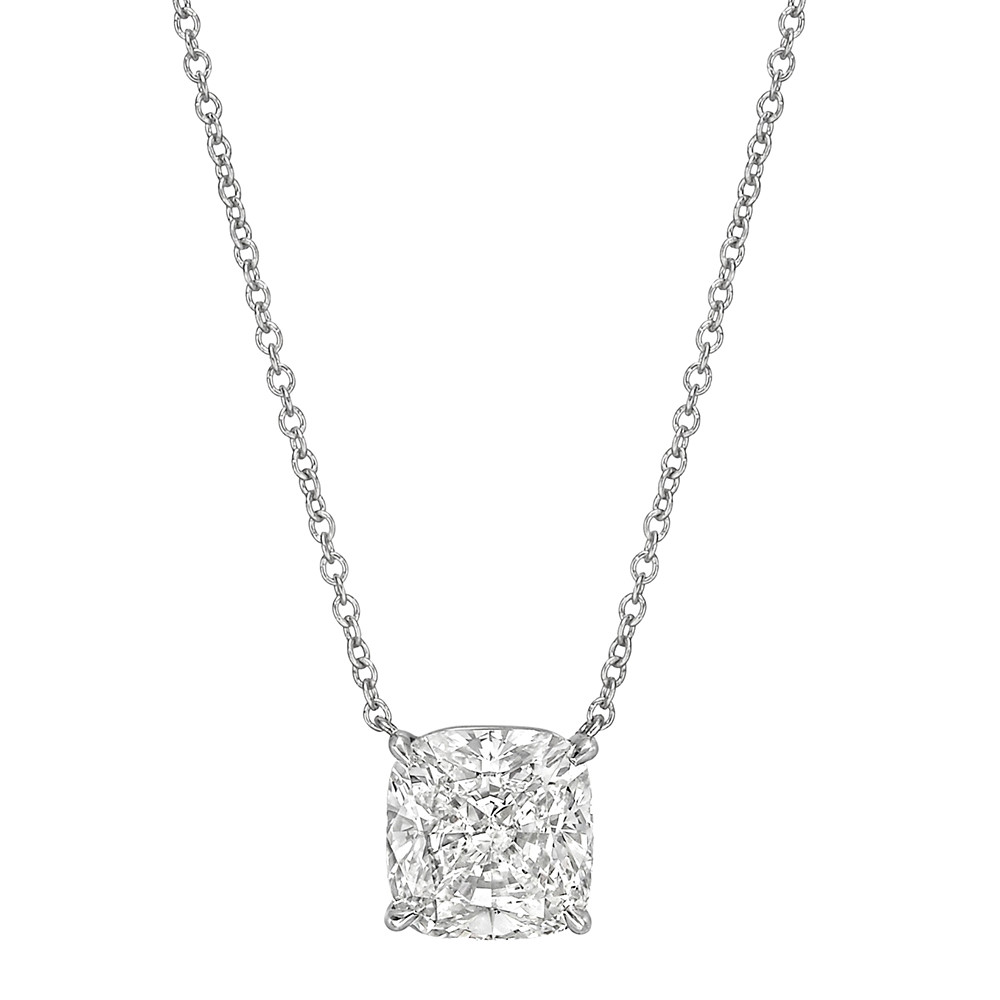 3.01 Carat Cushion Brilliant Diamond Solitaire Pendant