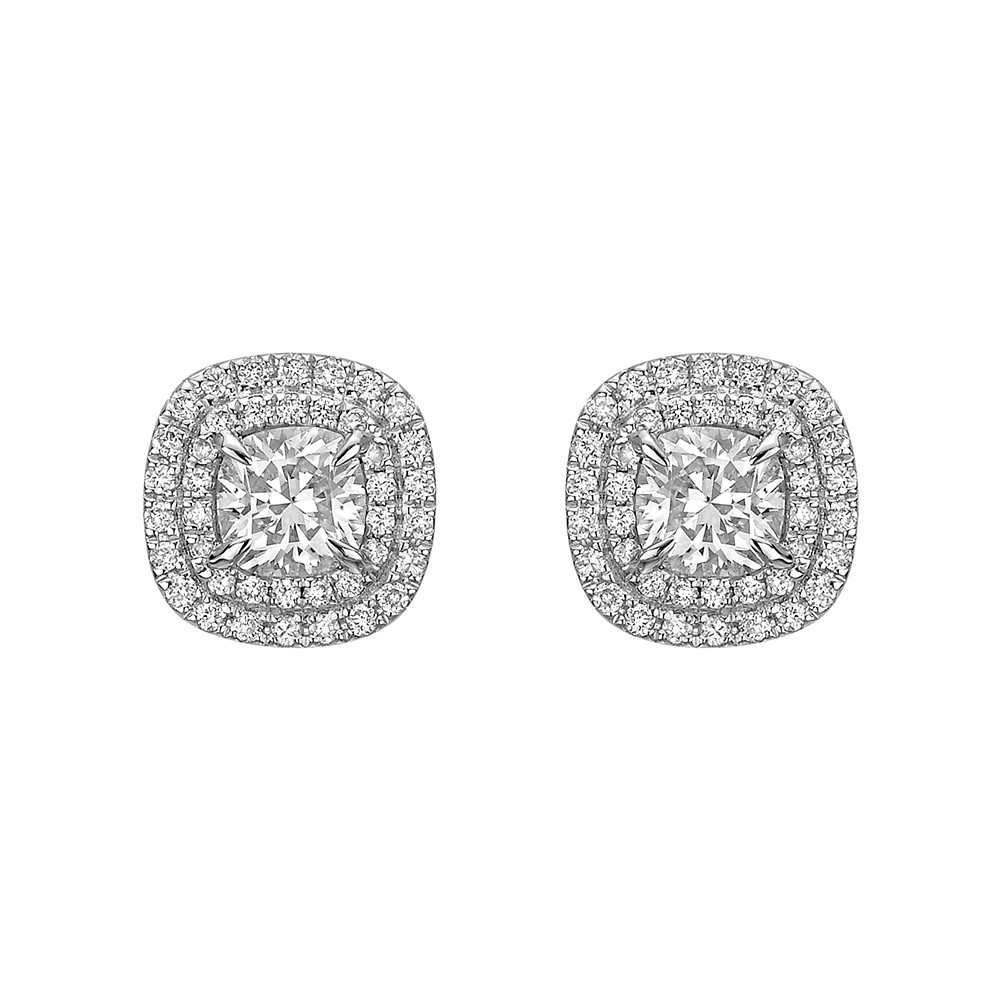 Cushion Cut Diamond Double Halo Stud Earrings