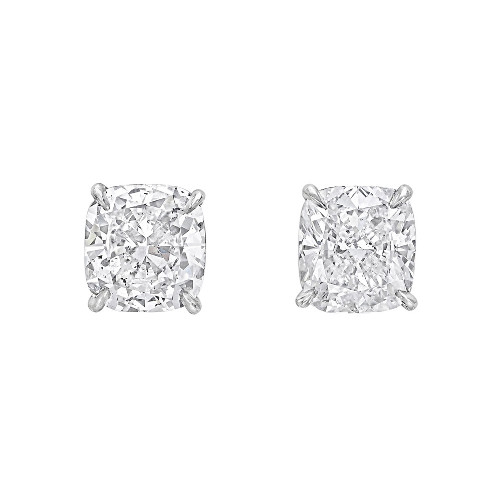 Cushion Cut Diamond Stud Earrings 4 26 Ct Tw