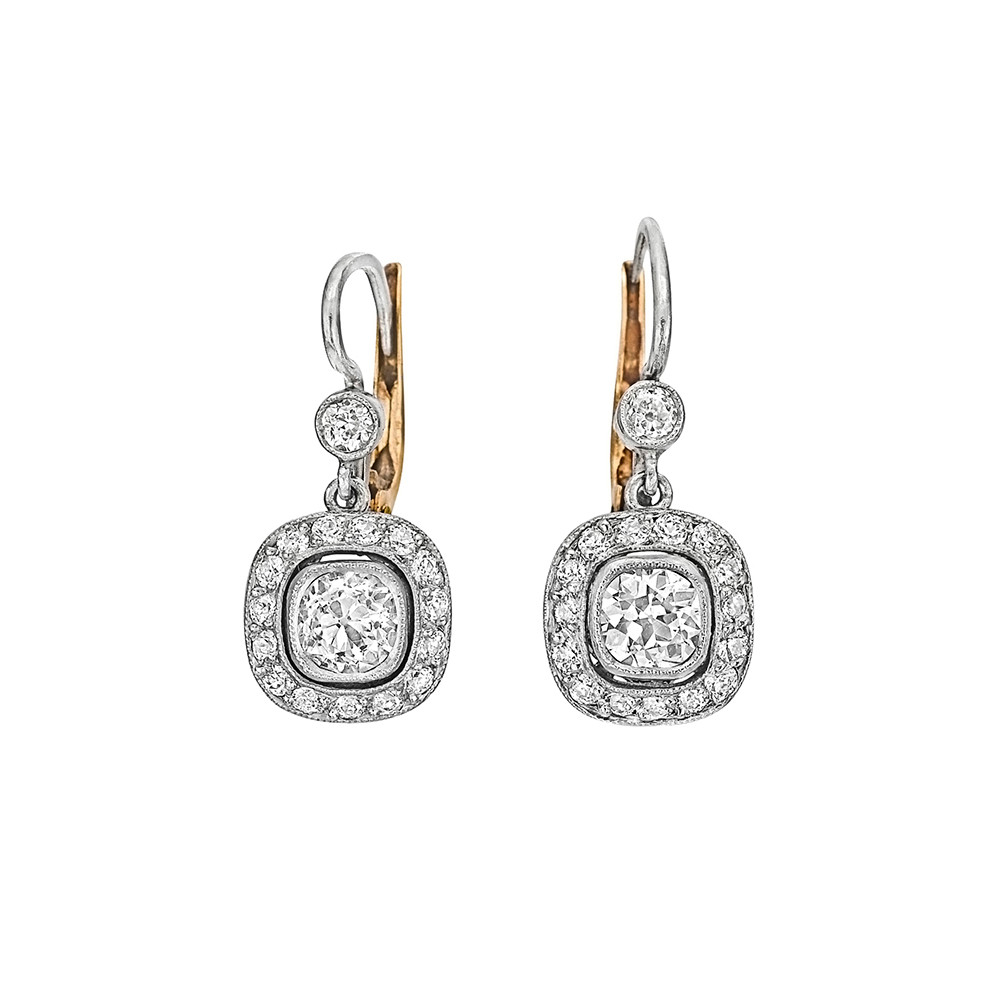 Diamond Short Drop Earrings Centering A Pair Of Bezel Set Cushion Shaped Old Mine Cut Diamonds Weighing Roximately 1 00 Total Carats G Color Vs1 Si1