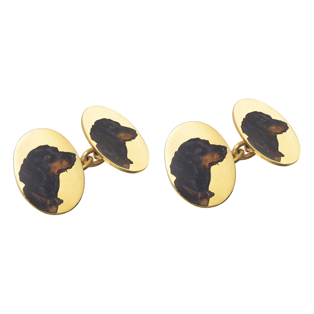 18k Gold & Painted Dachshund Links