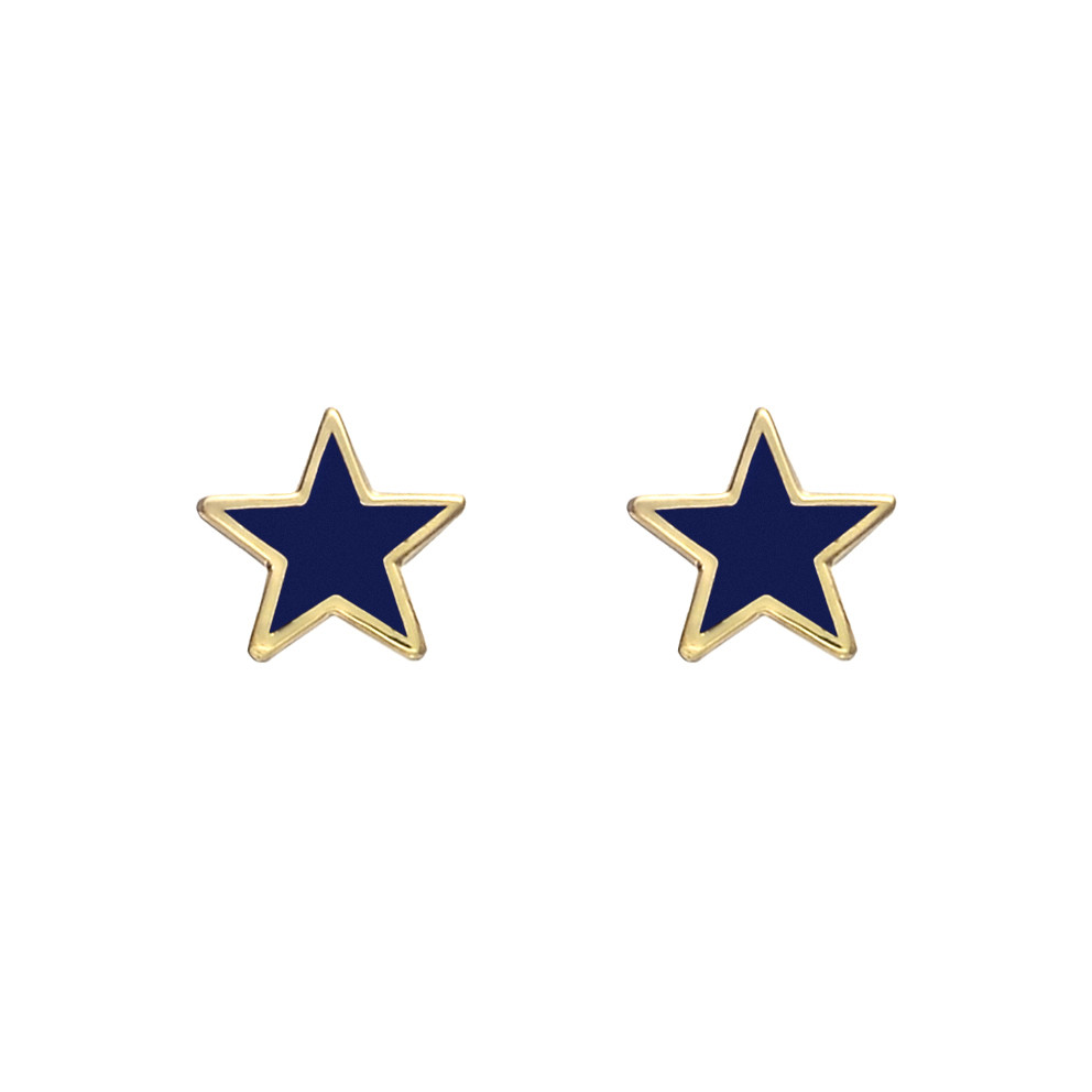 Small 14k Gold Dark Blue Enamel Star Earstuds