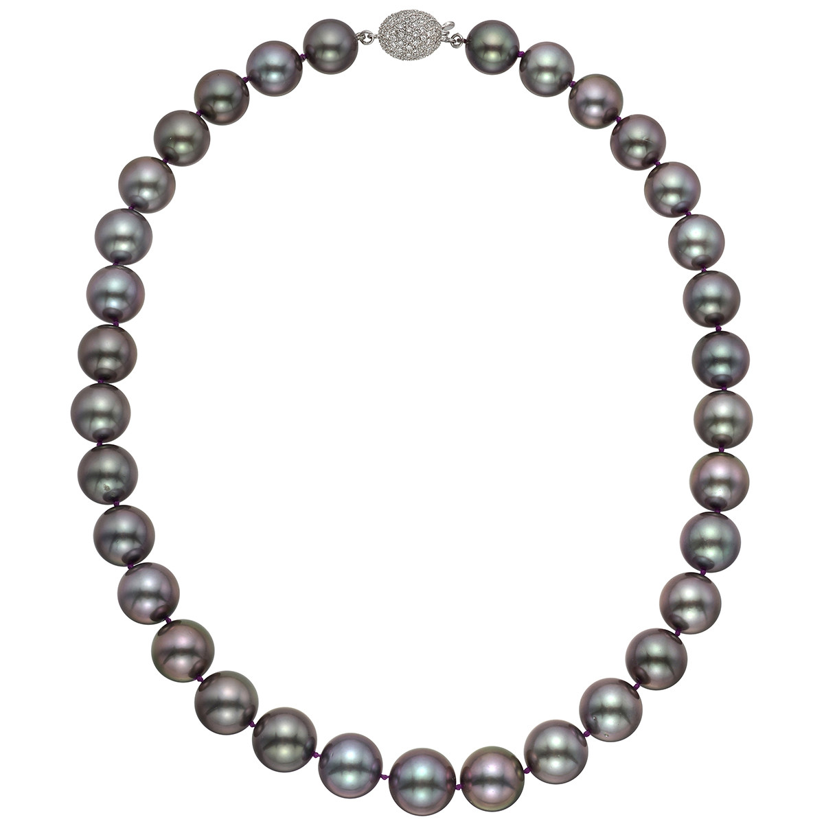 Tahitian Pearl Necklace with Pavé Diamond Clasp