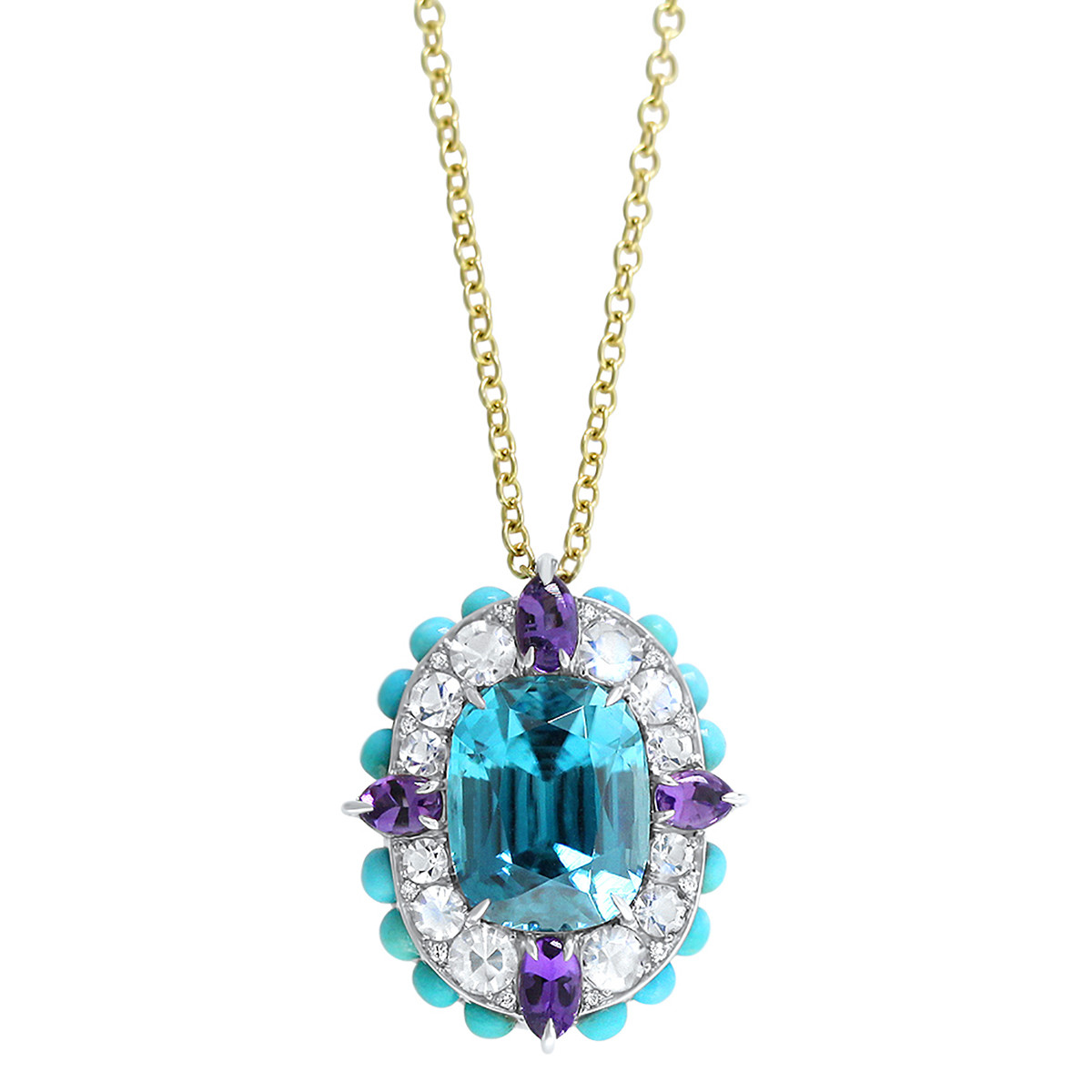 Multicolored Gemstone & Diamond Cluster Pendant