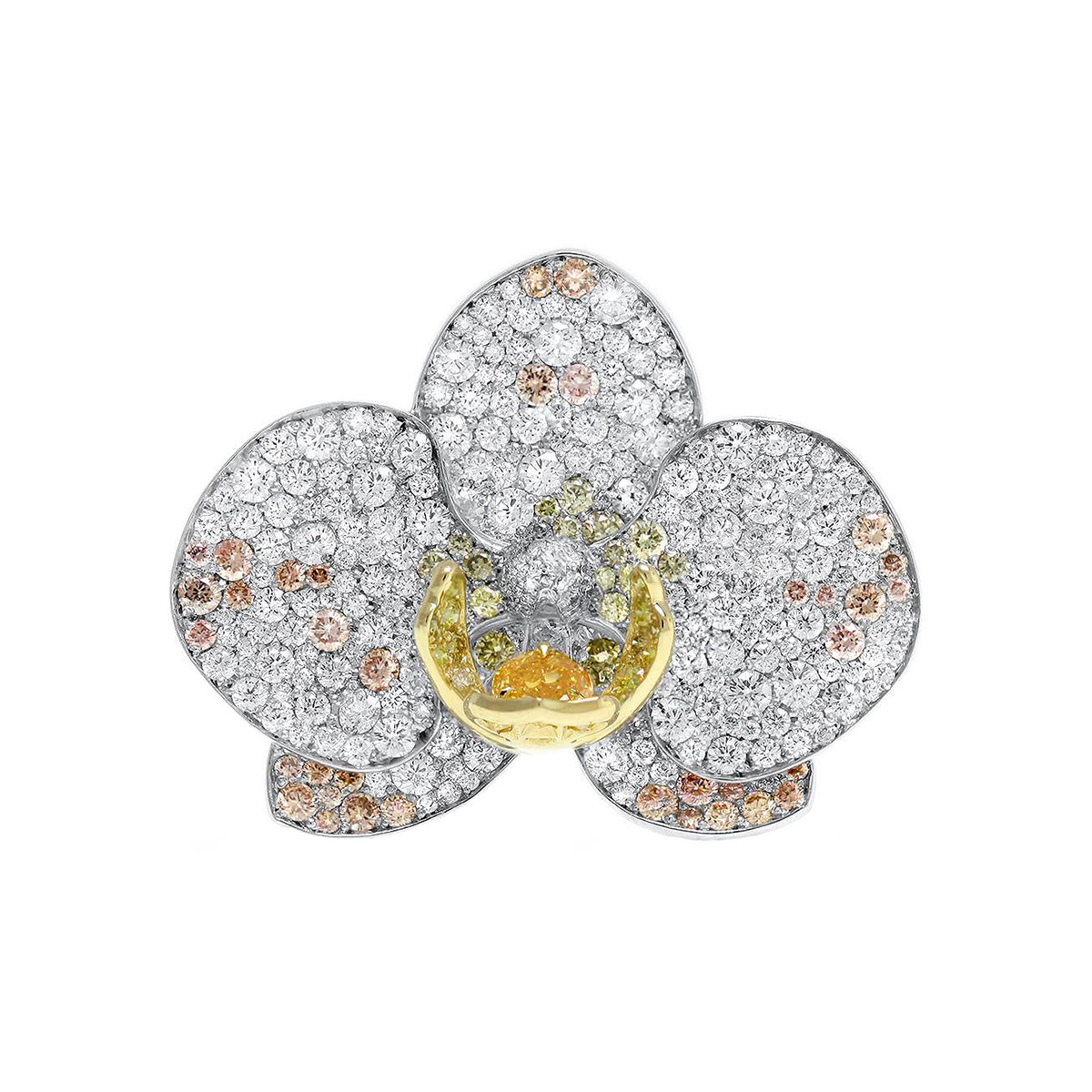 Multicolored Diamond Orchid Ring