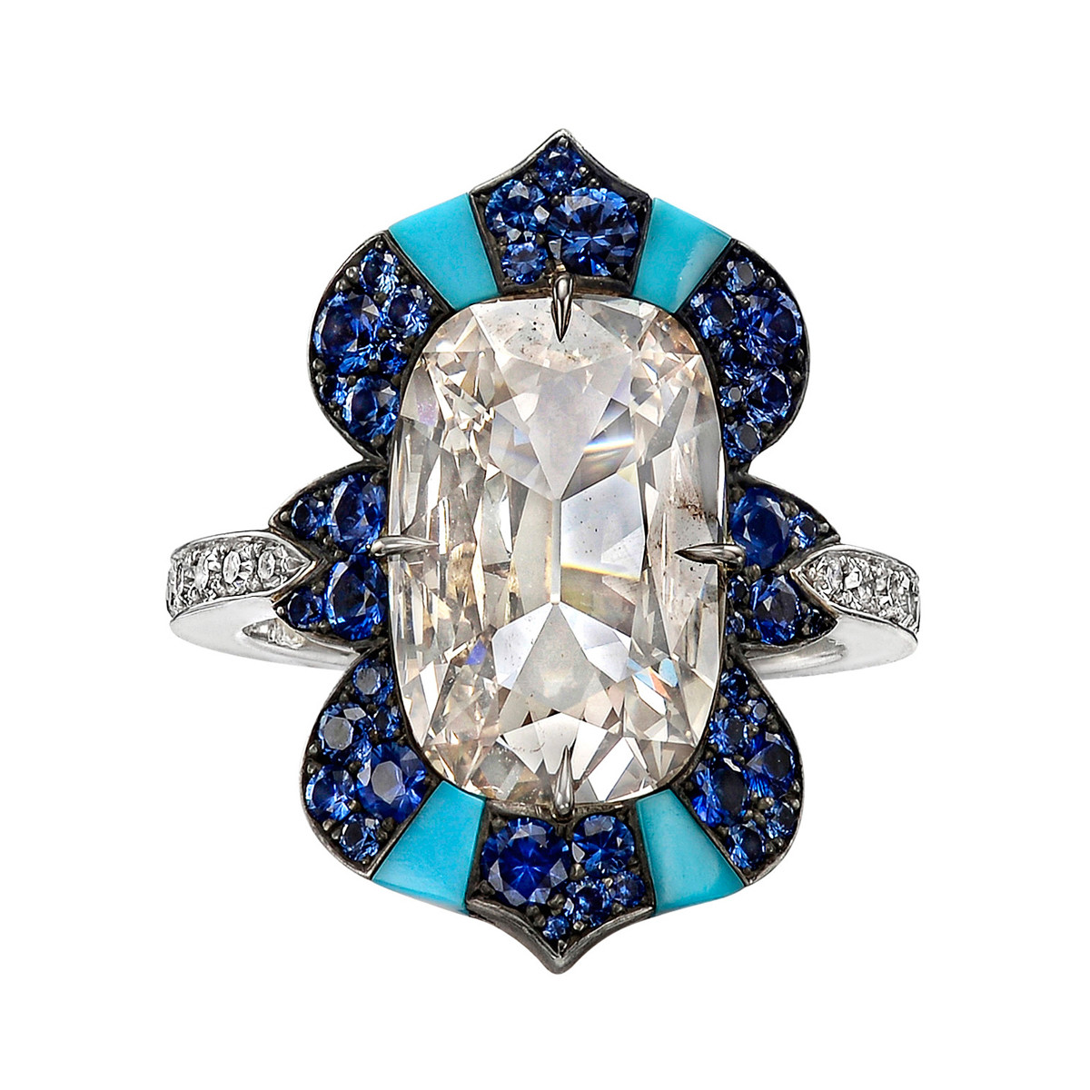 Elongated Cushion Diamond, Sapphire & Turquoise Ring