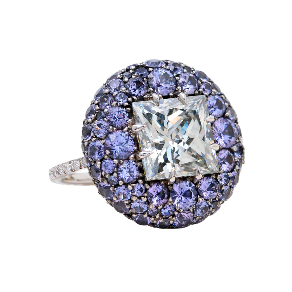 "5.04ct Diamond & Purple Sapphire ""Pebble"" Ring"