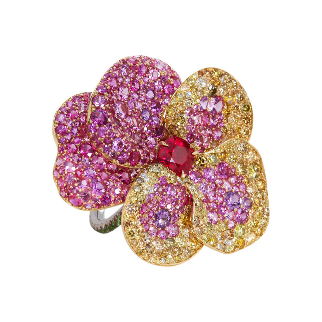 Burmese Ruby Viola Flower Ring