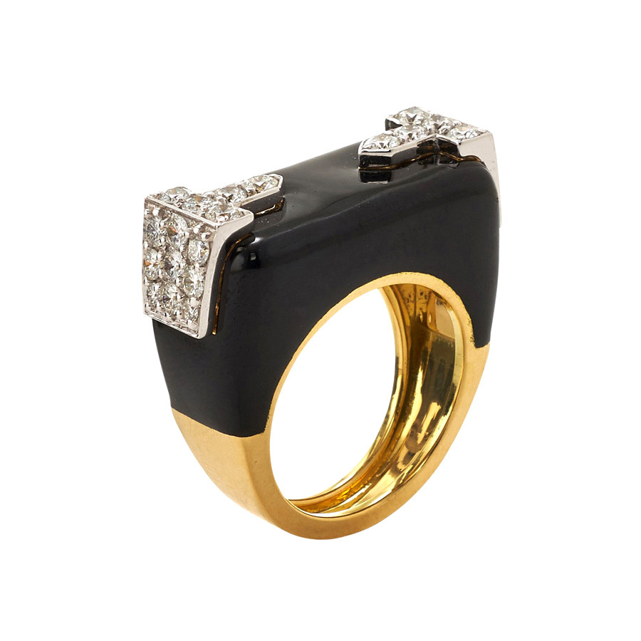 "Black Enamel & Diamond ""Hero"" Ring"