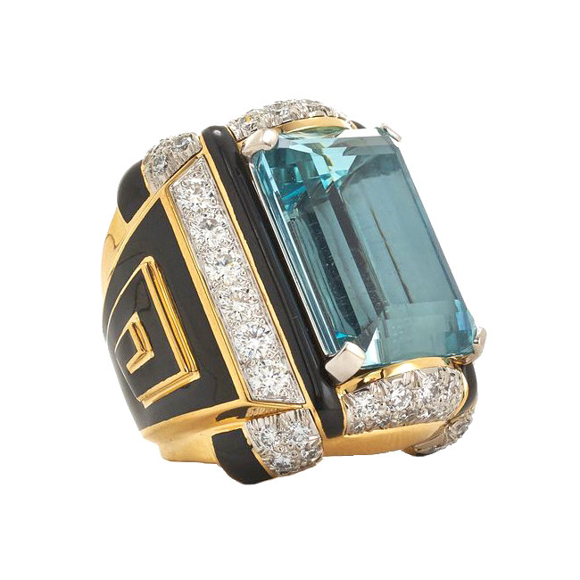 "Aquamarine, Diamond & Black Enamel ""Shrine"" Ring"