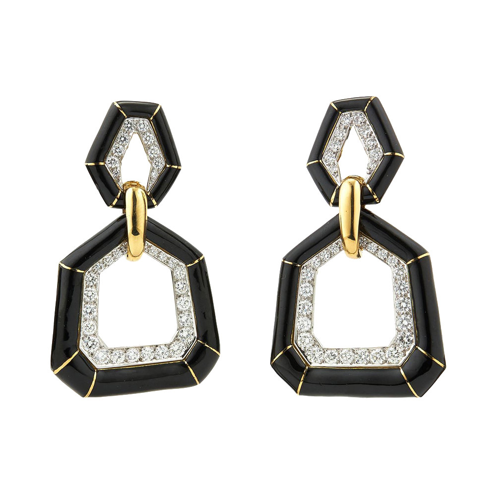 "Black Enamel & Diamond ""Bamboo"" Earrings"