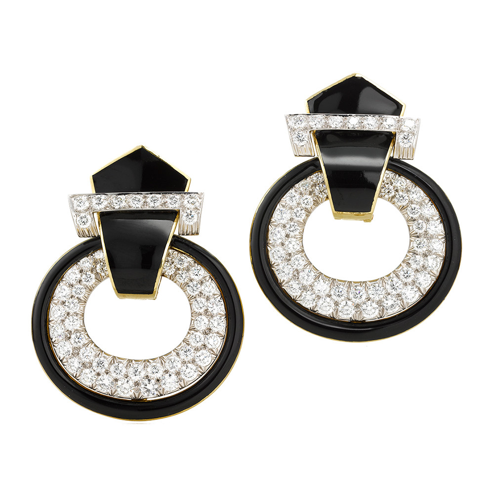 "Black Enamel & Diamond ""Doorknocker"" Earrings"