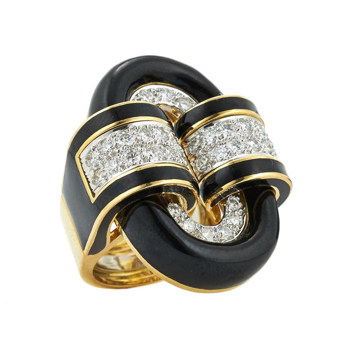 "18k Gold, Diamond & Black Enamel ""Oval Buckle"" Ring"
