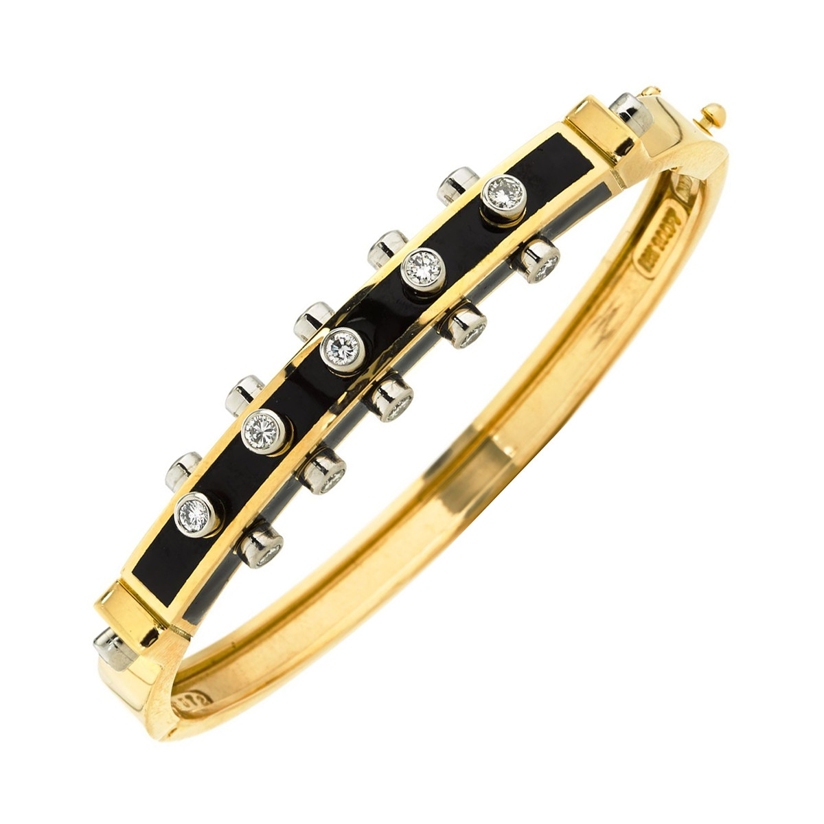 "Black Enamel & Diamond ""Studlette"" Bangle"
