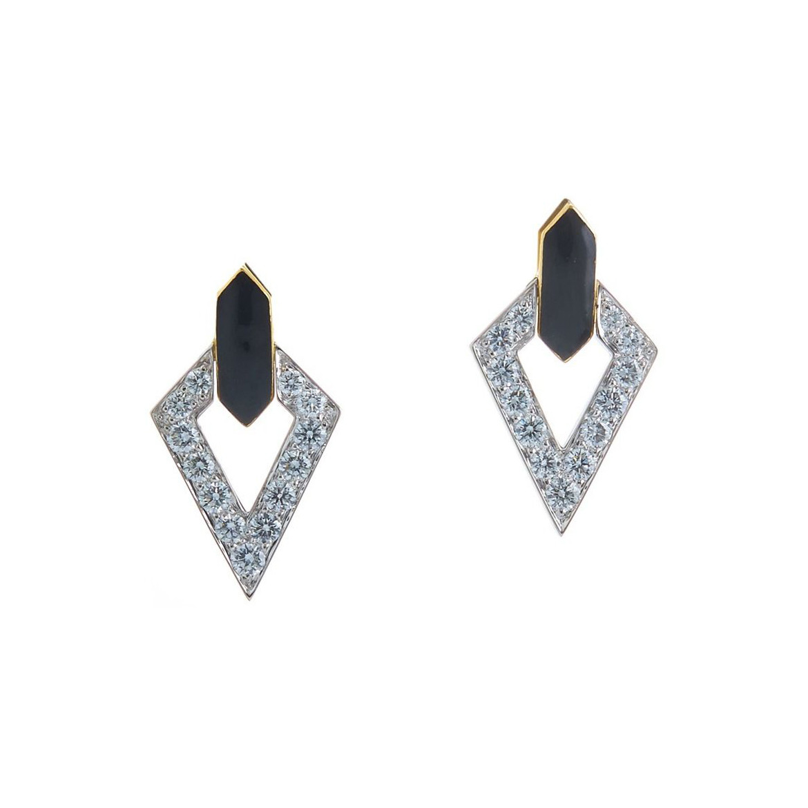 "Black Enamel ""Double Diamond"" Earrings"