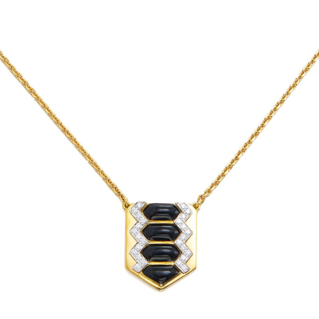 "Black Enamel & Diamond ""Shield"" Pendant"