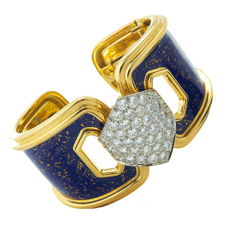 "Diamonds & Blue Enamel ""Manhattan Minimalism"" Cuff"