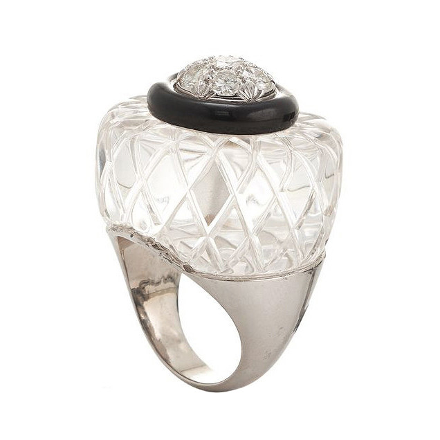 Rock Crystal, Diamond & Black Enamel Ring