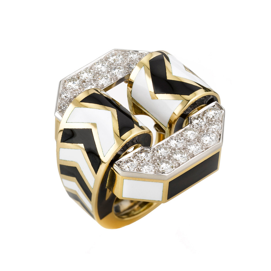 "Diamond & Enamel Small ""Chevron"" Ring"